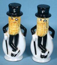 1950s Mr Peanut Figural Salt & Pepper Shaker Set Glazed Ceramic Planters Peanuts