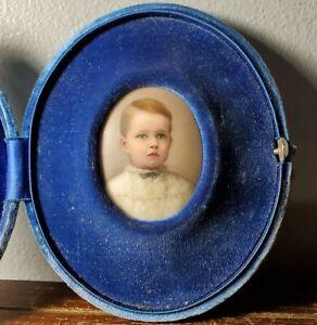 Antique Miniature Hand Painted Portrait on Porcelain of Young Boy in Velvet Case