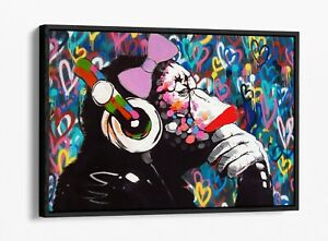 DJ MONKEY FEMALE LOVE WALL -FLOAT EFFECT CANVAS WALL ART PIC PRINT- BLUE PINK