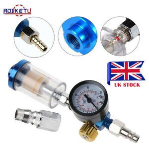 Spray Gun Air Compressor Air Regulator Oil Water Separator Trap Filter & Tip UK