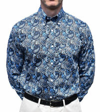 Camicie casual e maglie da uomo blu in cotone aderente