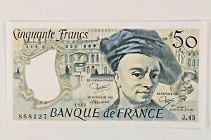 1986 France 50 Franc Banknote / Almost Uncirculated (AU) / De La Tour / P#152b.8