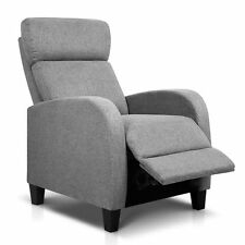 Linen Fabric Sofa Armchair Recliner - Grey Adjustable 13cm Thick Cushion