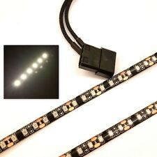 Blanco LED carcasa de PC luz (Doble 30cm Brighter Tiras) Molex 60cm Funda Colas