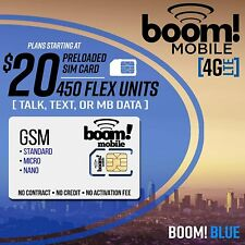 Boom Mobile 4G Lte Gsm (At&T) Sim Card $20 Preloaded with 1st Month Service