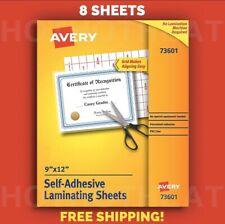 8 Avery Self-Adhesive 9 X 12 Clear Laminating Sheets 73601 Permanent Adhesive