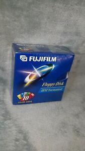 """Fujifilm Floppy Disk IBM Formatted 10 Color Disks 3.5"""" 1.44MB NEW sealed"""