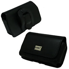 Black Leather Carrying Case Pouch with Belt Clip Loop for LG Exalt II / 2