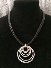 "NWT Anne Klein Silver-Tone Orbital Pendant Black Cord Necklace 20"" Long"