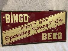 Bingo Beer Pre-Prohibition Beer Sign Reverse Glass Painted Milan Ohio Rare