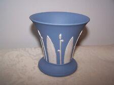 Wedgwood England Blue Jasperware Vase White Raised Bullrushes And Leaves 1951