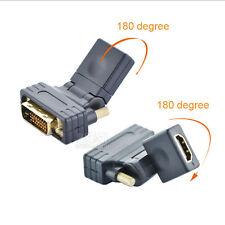 Rotating DVI-D Dual link Male 24+1 pin to HDMI Female 360 180 Degree HDMI to DVI