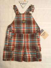 Osh Kosh B'Gosh Baby Boys 12 Month Brown Plaid Short Overall Outfit NWT