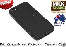 Milkshake Apple iPhone 5 5S Flex Case Cover Black + Screen Protector + Cloth NEW