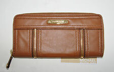NEW MICHAEL KORS MOXLEY LUGGAGE/BROWN LEATHER+GOLD CONTINENTAL ZIP CLUTCH WALLET