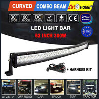 Curved 52 inch 300W LED Light Bar Combo Work Lamp for Offroad Jeep SUV 4WD ATV