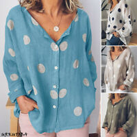 Women Polka Dot Loose Top Shirt Long Sleeve Cotton Linen Plus Size Tunic Blouse