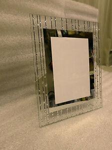 3391M ELEGANT MODERN 5x7 Frame Clear Glass w/Clear Crystals & Mirrored Border A+