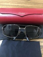 CARTIER SILVER FRAME AVIATOR SUNGLASSES Screw Type 62-18 120 SANTOS