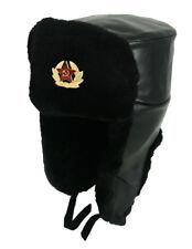 Unisex Russische Kunstleder Schwarz Uschanka  Militärmütze Sowietischen Armee
