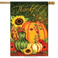 "Harvest Splendor Fall House Flag Pumpkin Sunflower Thanksgiving Corn 28""x40"""
