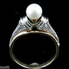 c.1950s Mid Century Pearl Rose Cut Diamonds 14k White Yellow Gold Ring Vintage
