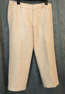 Ann Taylor Dress Cropped Pants Size 8 Linen & Metallic Blend Ivory Sparkle Capri