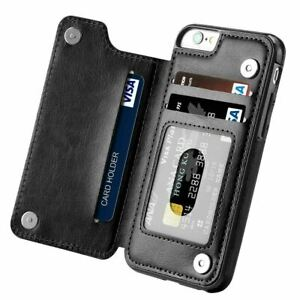 Leather Flip Wallet Card Holder Case Cover For iPhone 13 12 7 8Plus Samsung S21+