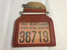 Vtg Collectible 1957 Maryland State Wide Hunter Hunting License With Holder
