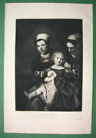 ORIGINAL ETCHING Print by Maes - Happy Child & Servant Ladies