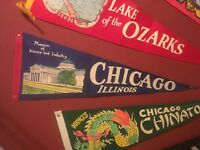 Vintage 1950s Chicago Ill. Museum  of Science   Felt Flag Pennant