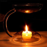 6F40 Elegant Aroma Glass Candlestick Candle Holder Oil Burner Stove Decor Gift