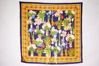 GUCCI 88cm Large Format Scarf 100% Silk Floral Flower Stole Shawl Navy 3435k