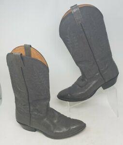 Nocona Cowboy Boots Gray Leather Stitched Design Mens Size 11 D