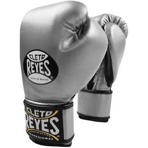 Cleto Reyes Lace Up Hook and Loop Hybrid Boxing Gloves - Silver
