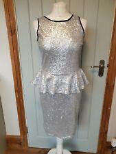 Lipsy silver sequin midi dress size 12 peplum sheer back sleeveless lined a34