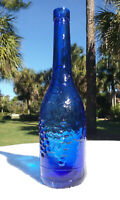 """TUMBLED - EXTREMELY ORNATE SAPPHIRE BLUE WINE BOTTLE!  12"""" TALL!  JUST STUNNING!"""