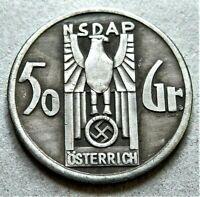 WW2 GERMAN COMMEMORATIVE COLLECTORS COIN 50 GROSCHEN 1936 NSD