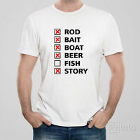 Funny T-shirt FISHING CHECKLIST fish rod boat gift for man husband dad father