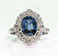 2 Ct Premium Peacock Blue Sapphire 18k White Gold Diamond Wedding Ring For Her