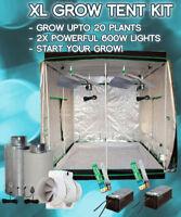Large Grow Tent Kit, 2 x 600w HPS, 200cmx200cmx200cm Tent Full ventilation kit