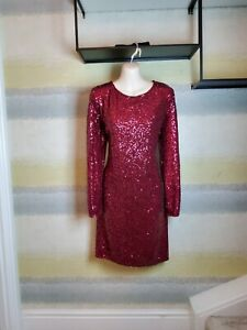 Quiz Burgundy Pink Long Sleeve Bodycon Sequin dress Size 18 (14-16) New