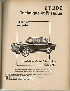 REVUE TECHNIQUE AUTOMOBILE 188 RTA 1961 SIMCA ARONDE EVOLUTION 1960 1962