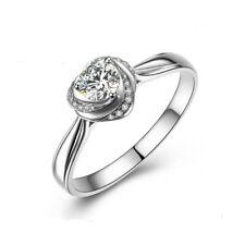 925 Sterling Silver Rose Heart Shape Emerald Diamond Wedding Ring Uk-n Eur-54