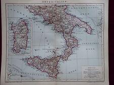 Landkarte, Unteritalien, Sizilien, Sardinien, Brockhaus 1904