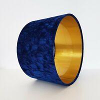 Crushed Navy Blue Velvet Gold Circular Drum Lampshade Lightshade Floor