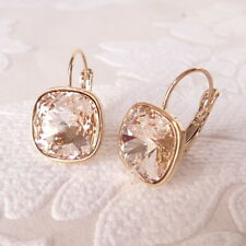 Champagne Gold Plated Leverback Drop Earrings w/ Cushion Cut Swarovski Crystal