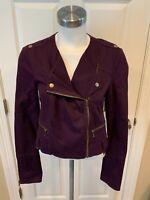 Rachel Roy Purple Chino Moto Jacket, Size Medium