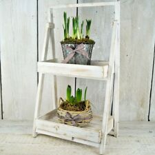 Rustic Wood Folding Stand Shelf Unit Display Step Plant Florist Shop Shabby Chic