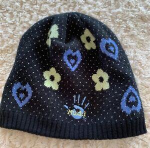 Mudd Girls Black Green Flowers Blue Hearts Knit Winter Beanie Hat